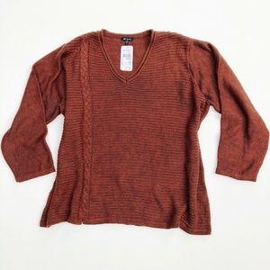 Ulla Popken NWT Rust Orange V Neck Knit Sweater